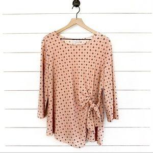 ELLE pink printed 3/4 sleeve tie side top